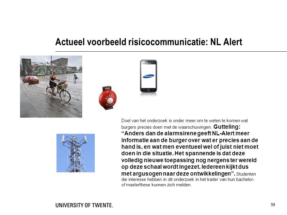 59 Actueel voorbeeld risicocommunicatie: NL Alert 59 Doel van het onderzoek is onder meer om te weten te komen wat burgers precies doen met de waarsch