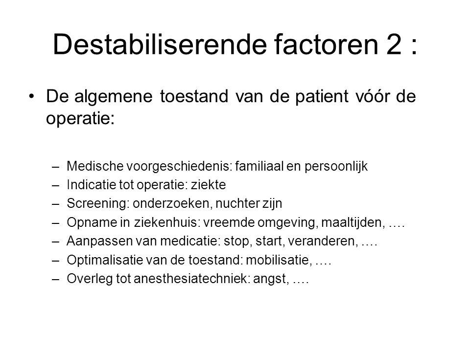 Destabiliserende factoren 2 : De algemene toestand van de patient vóór de operatie: –Medische voorgeschiedenis: familiaal en persoonlijk –Indicatie to