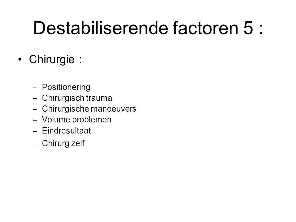 Destabiliserende factoren 5 : Chirurgie : –Positionering –Chirurgisch trauma –Chirurgische manoeuvers –Volume problemen –Eindresultaat –Chirurg zelf