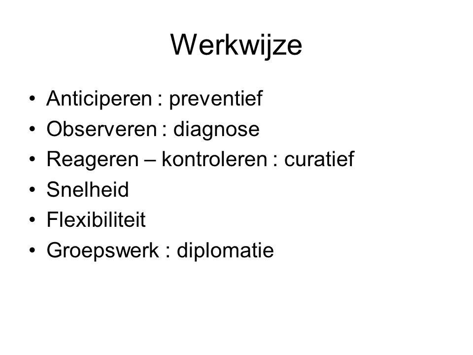 Werkwijze Anticiperen : preventief Observeren : diagnose Reageren – kontroleren : curatief Snelheid Flexibiliteit Groepswerk : diplomatie