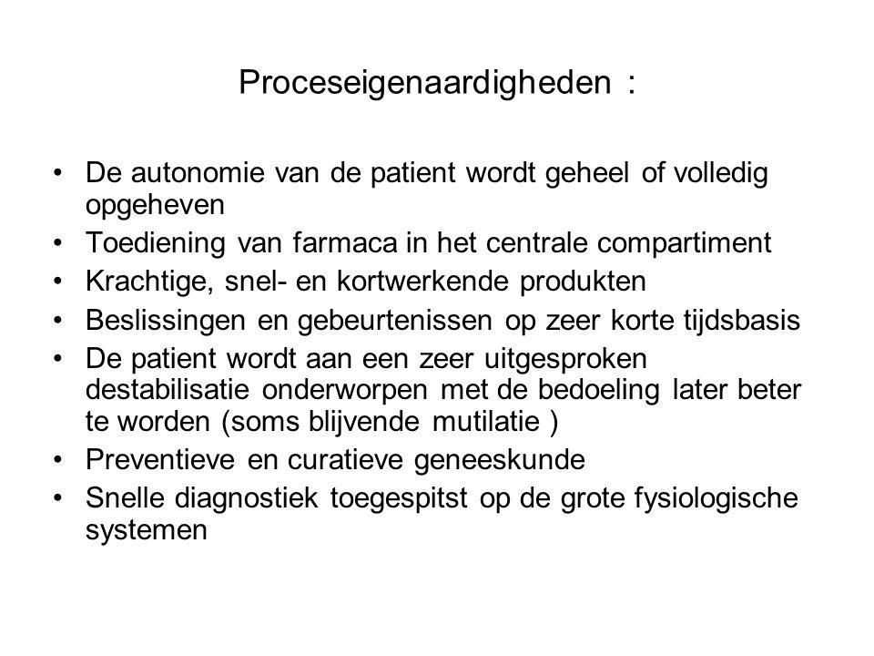 Proceseigenaardigheden : De autonomie van de patient wordt geheel of volledig opgeheven Toediening van farmaca in het centrale compartiment Krachtige,
