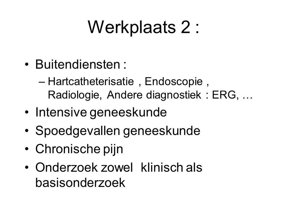 Werkplaats 2 : Buitendiensten : –Hartcatheterisatie, Endoscopie, Radiologie, Andere diagnostiek : ERG, … Intensive geneeskunde Spoedgevallen geneeskun