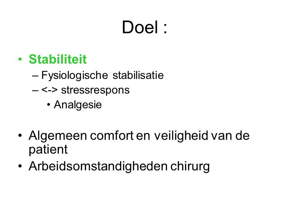 Doel : Stabiliteit –Fysiologische stabilisatie – stressrespons Analgesie Algemeen comfort en veiligheid van de patient Arbeidsomstandigheden chirurg
