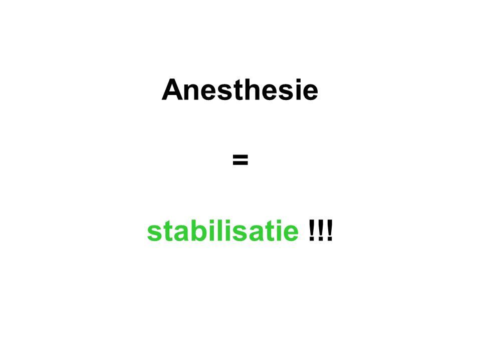 Anesthesie = stabilisatie !!!