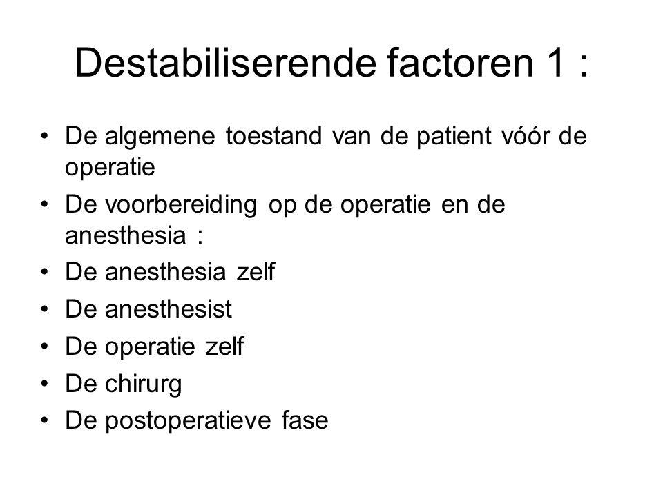 Destabiliserende factoren 1 : De algemene toestand van de patient vóór de operatie De voorbereiding op de operatie en de anesthesia : De anesthesia ze