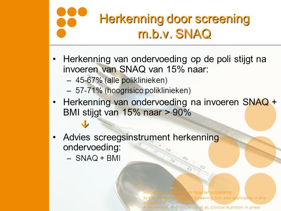 Herkenning door screening m.b.v. SNAQ Herkenning van ondervoeding op de poli stijgt na invoeren van SNAQ van 15% naar: –45-67% (alle poliklinieken) –5