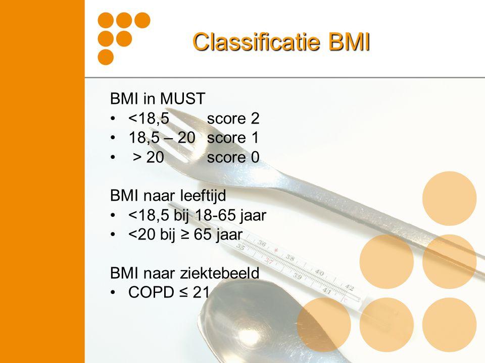 Classificatie BMI BMI in MUST <18,5 score 2 18,5 – 20 score 1 > 20 score 0 BMI naar leeftijd <18,5 bij 18-65 jaar <20 bij ≥ 65 jaar BMI naar ziektebee