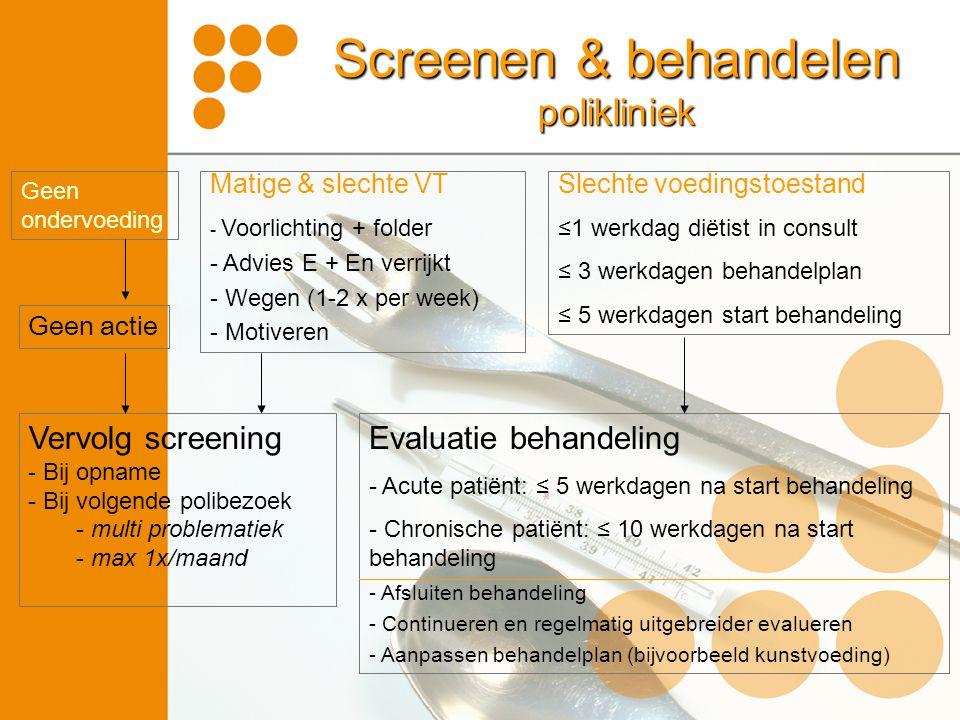 Screenen & behandelen polikliniek Slechte voedingstoestand ≤1 werkdag diëtist in consult ≤ 3 werkdagen behandelplan ≤ 5 werkdagen start behandeling Ma