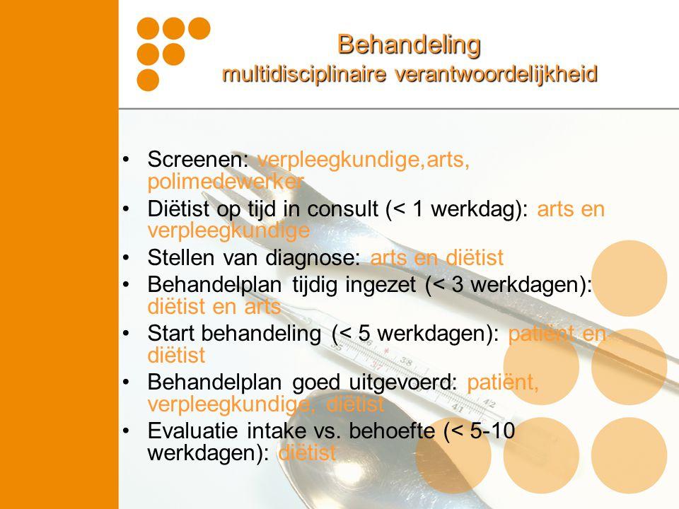 Behandeling multidisciplinaire verantwoordelijkheid Screenen: verpleegkundige,arts, polimedewerker Diëtist op tijd in consult (< 1 werkdag): arts en v
