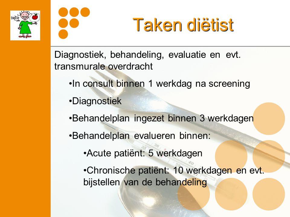 Taken diëtist Diagnostiek, behandeling, evaluatie en evt. transmurale overdracht In consult binnen 1 werkdag na screening Diagnostiek Behandelplan ing