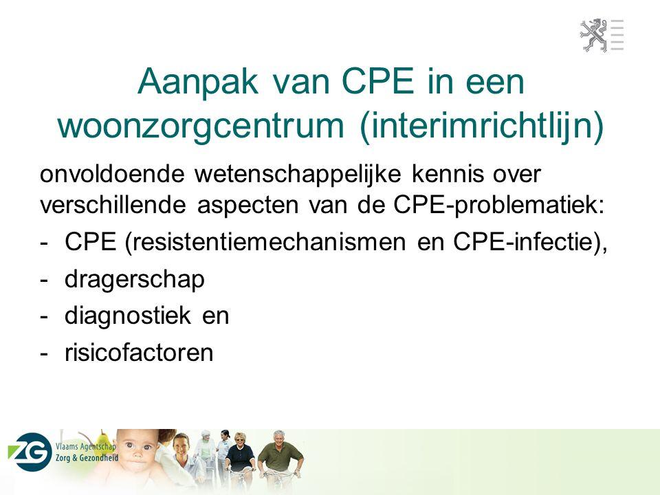 Aanpak van CPE in een woonzorgcentrum (interimrichtlijn) onvoldoende wetenschappelijke kennis over verschillende aspecten van de CPE-problematiek: -CPE (resistentiemechanismen en CPE-infectie), -dragerschap -diagnostiek en -risicofactoren