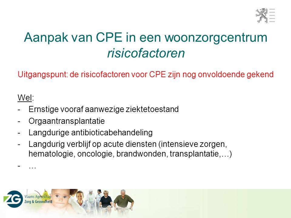 Aanpak van CPE in een woonzorgcentrum risicofactoren Uitgangspunt: de risicofactoren voor CPE zijn nog onvoldoende gekend Wel: -Ernstige vooraf aanwez