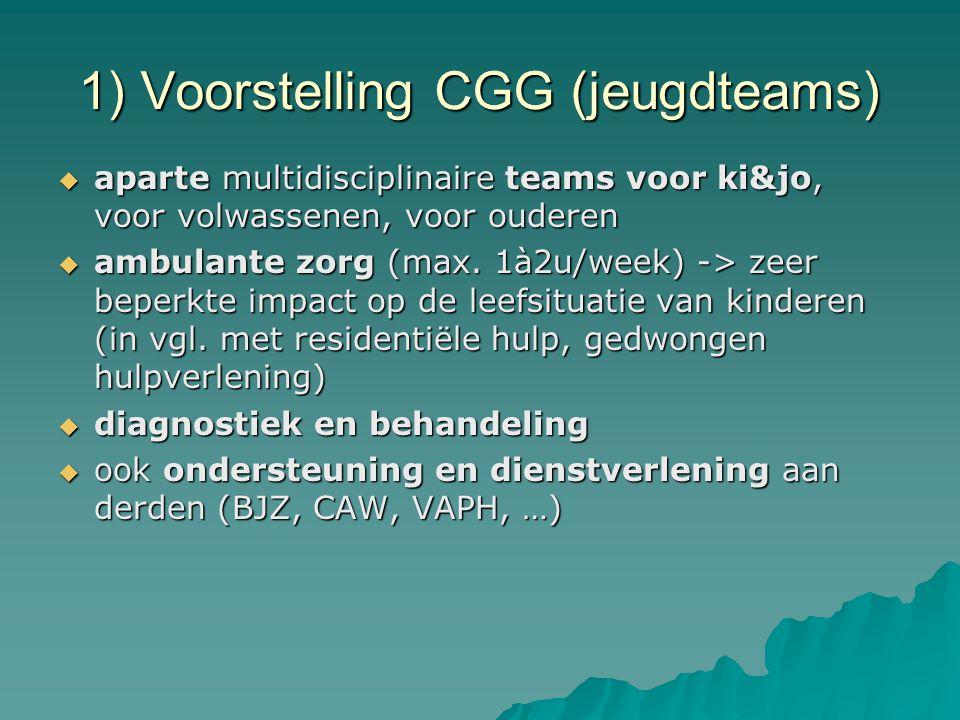 1) Voorstelling CGG (jeugdteams)  aparte multidisciplinaire teams voor ki&jo, voor volwassenen, voor ouderen  ambulante zorg (max. 1à2u/week) -> zee