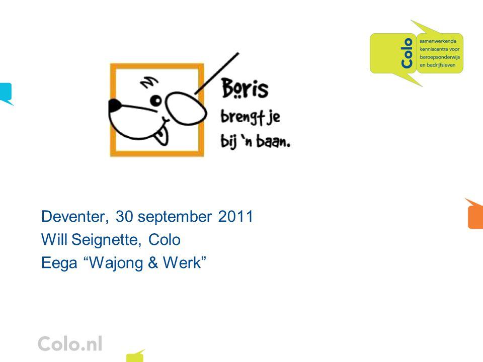 """Deventer, 30 september 2011 Will Seignette, Colo Eega """"Wajong & Werk"""""""
