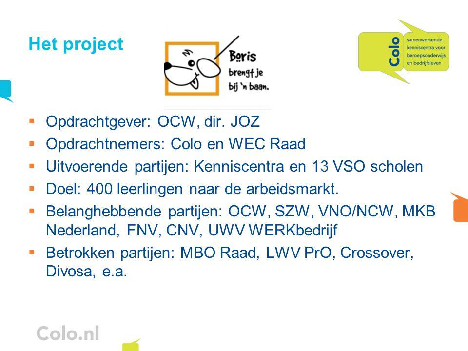 Het project  Opdrachtgever: OCW, dir. JOZ  Opdrachtnemers: Colo en WEC Raad  Uitvoerende partijen: Kenniscentra en 13 VSO scholen  Doel: 400 leerl