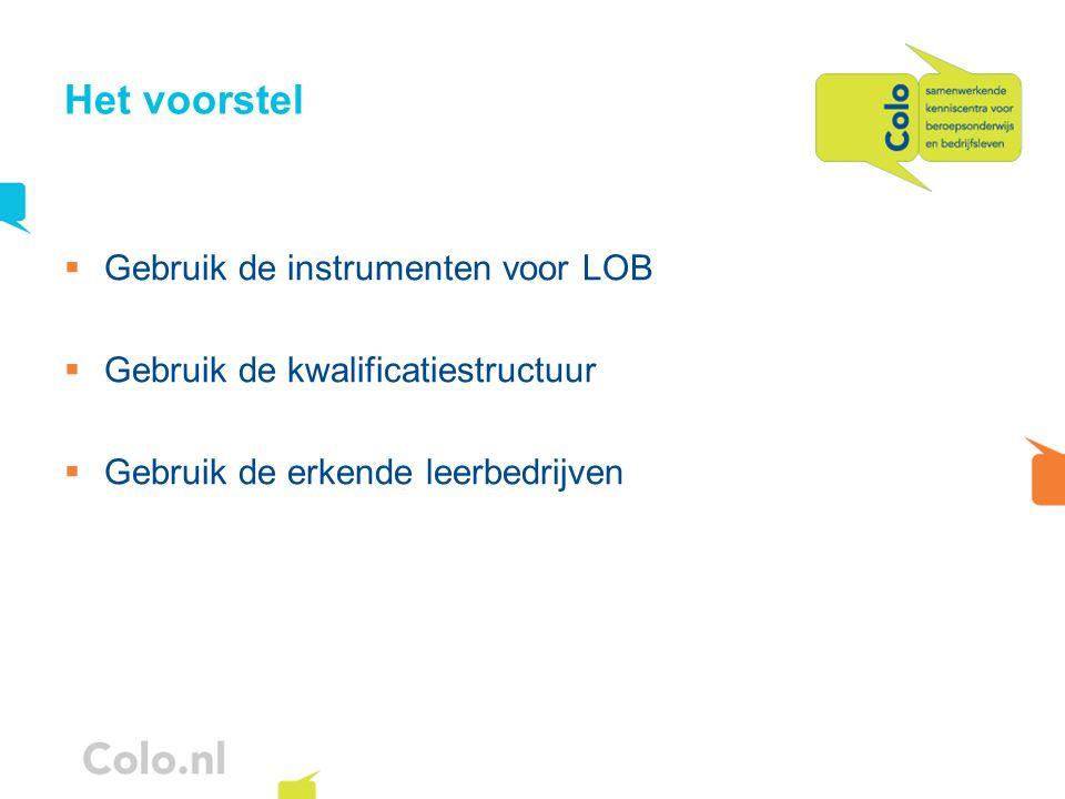 Het voorstel  Gebruik de instrumenten voor LOB  Gebruik de kwalificatiestructuur  Gebruik de erkende leerbedrijven
