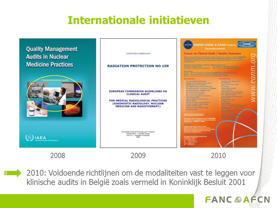 20092010 Internationale initiatieven 2008 2010: Voldoende richtlijnen om de modaliteiten vast te leggen voor klinische audits in België zoals vermeld in Koninklijk Besluit 2001