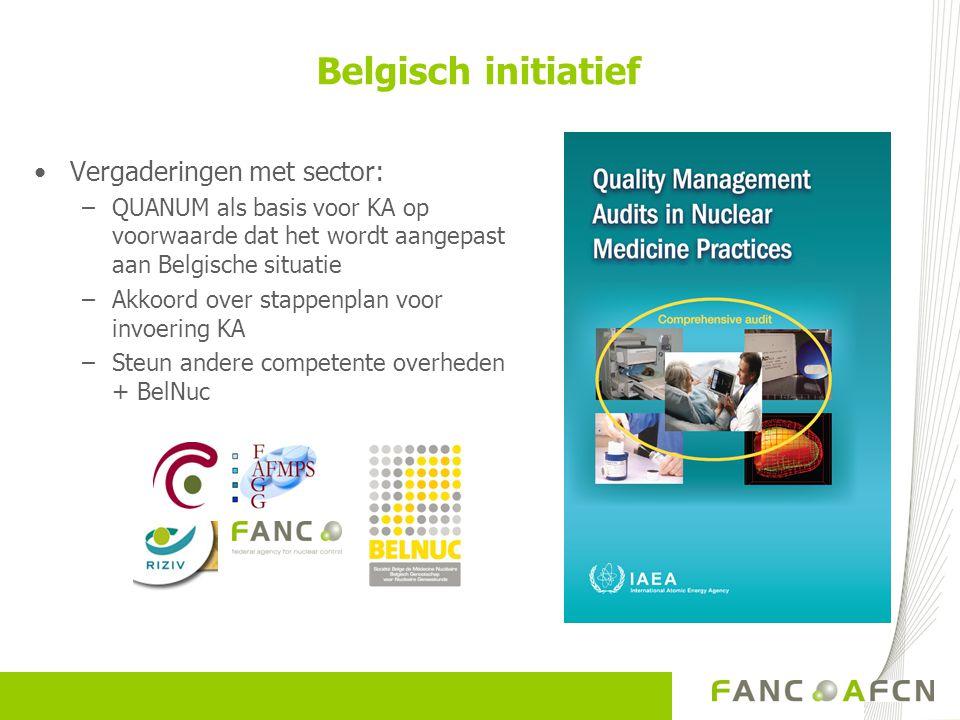Vergaderingen met sector: –QUANUM als basis voor KA op voorwaarde dat het wordt aangepast aan Belgische situatie –Akkoord over stappenplan voor invoering KA –Steun andere competente overheden + BelNuc Belgisch initiatief