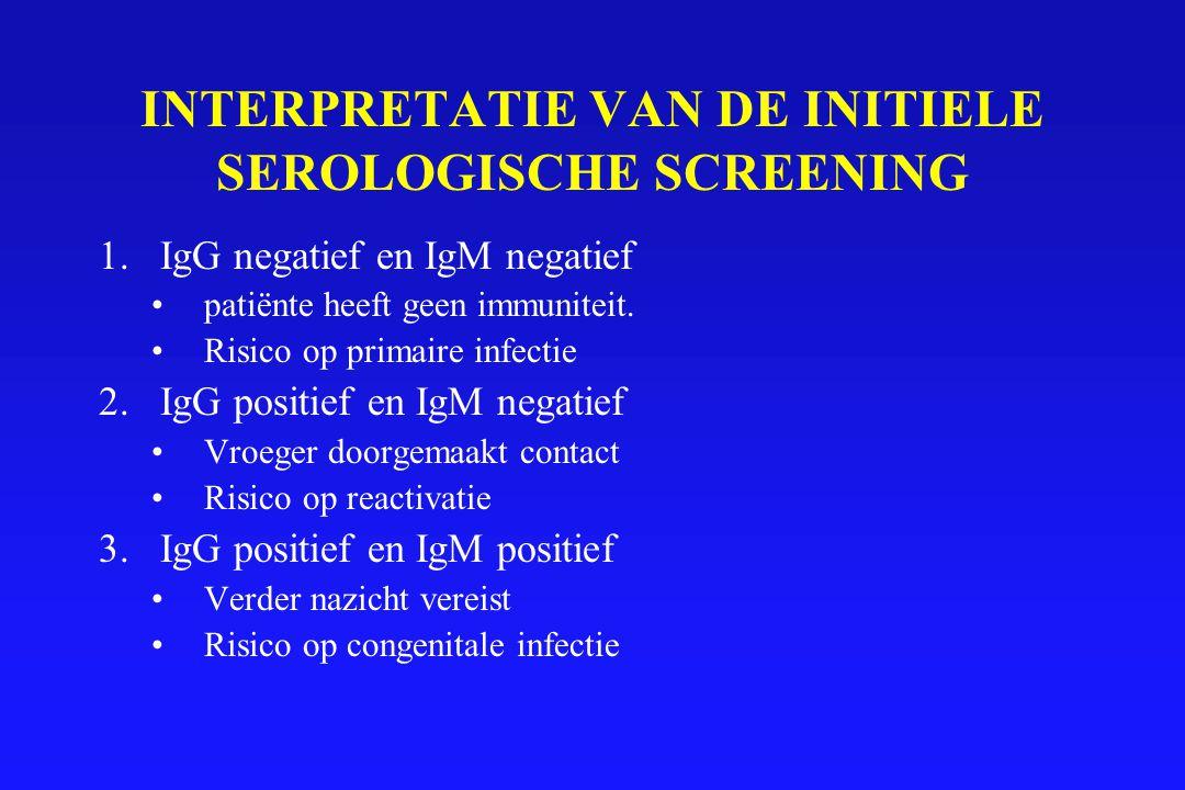 INTERPRETATIE VAN DE INITIELE SEROLOGISCHE SCREENING 1.IgG negatief en IgM negatief patiënte heeft geen immuniteit. Risico op primaire infectie 2.IgG