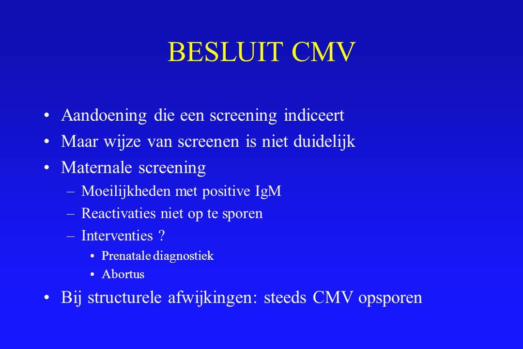 BESLUIT CMV Aandoening die een screening indiceert Maar wijze van screenen is niet duidelijk Maternale screening –Moeilijkheden met positive IgM –Reac