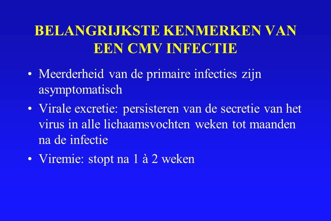 KLINIEK VAN CMV INFECTIES In immunocompetente patiënten: –Mononucleose like syndroom –Asymptomatisch In immunodeficiente patiënten : –Ernstige infecties Bij neonaten –Perinatale infecties –Congenitale infecties