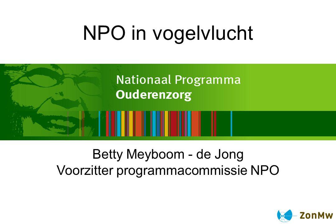 Het Nationaal Programma Ouderenzorg Start 1 april 2008 – looptijd 4 jaar Budget 80 miljoen euro