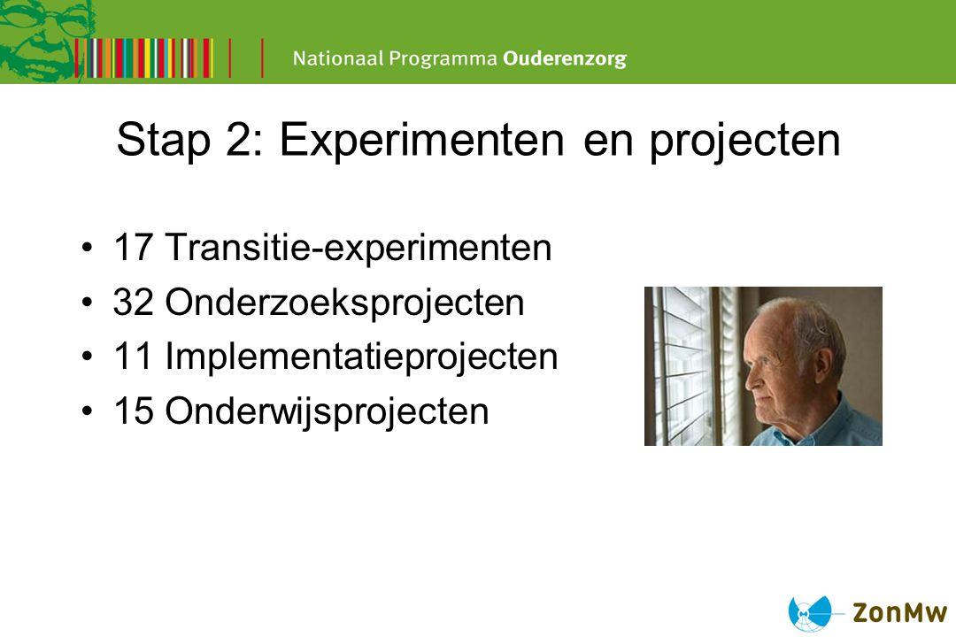 Stap 2: Experimenten en projecten 17 Transitie-experimenten 32 Onderzoeksprojecten 11 Implementatieprojecten 15 Onderwijsprojecten