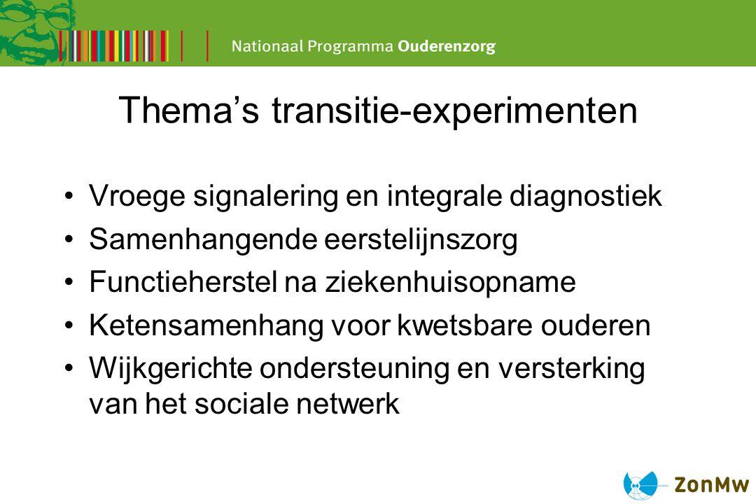 Thema's transitie-experimenten Vroege signalering en integrale diagnostiek Samenhangende eerstelijnszorg Functieherstel na ziekenhuisopname Ketensamen