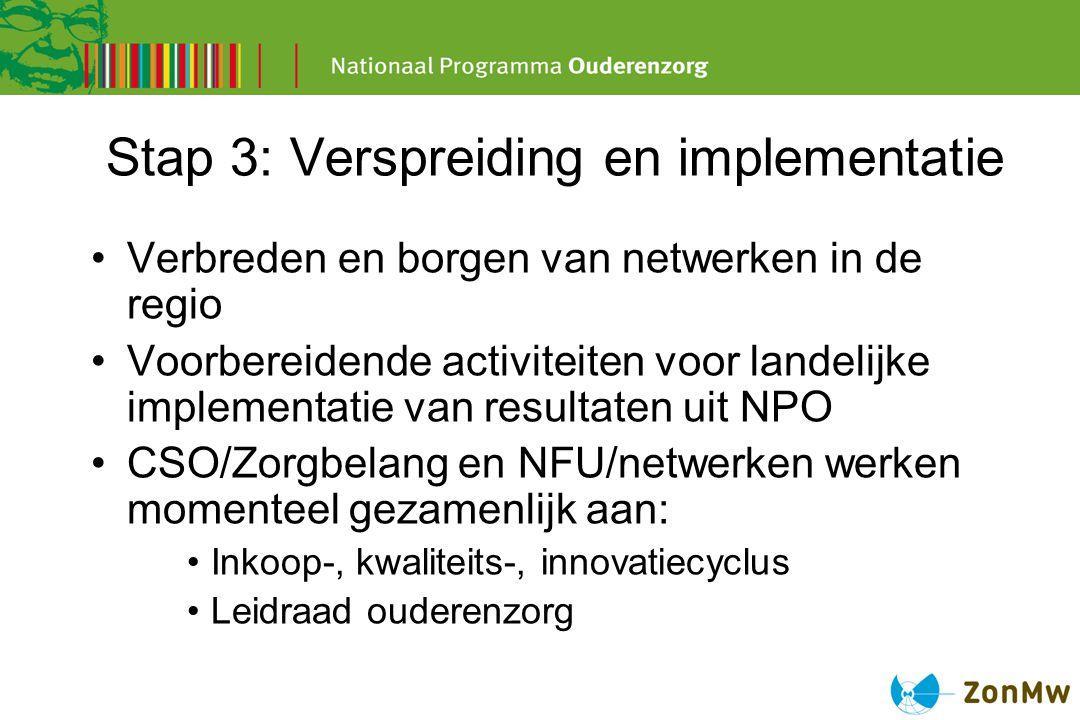 Stap 3: Verspreiding en implementatie Verbreden en borgen van netwerken in de regio Voorbereidende activiteiten voor landelijke implementatie van resu
