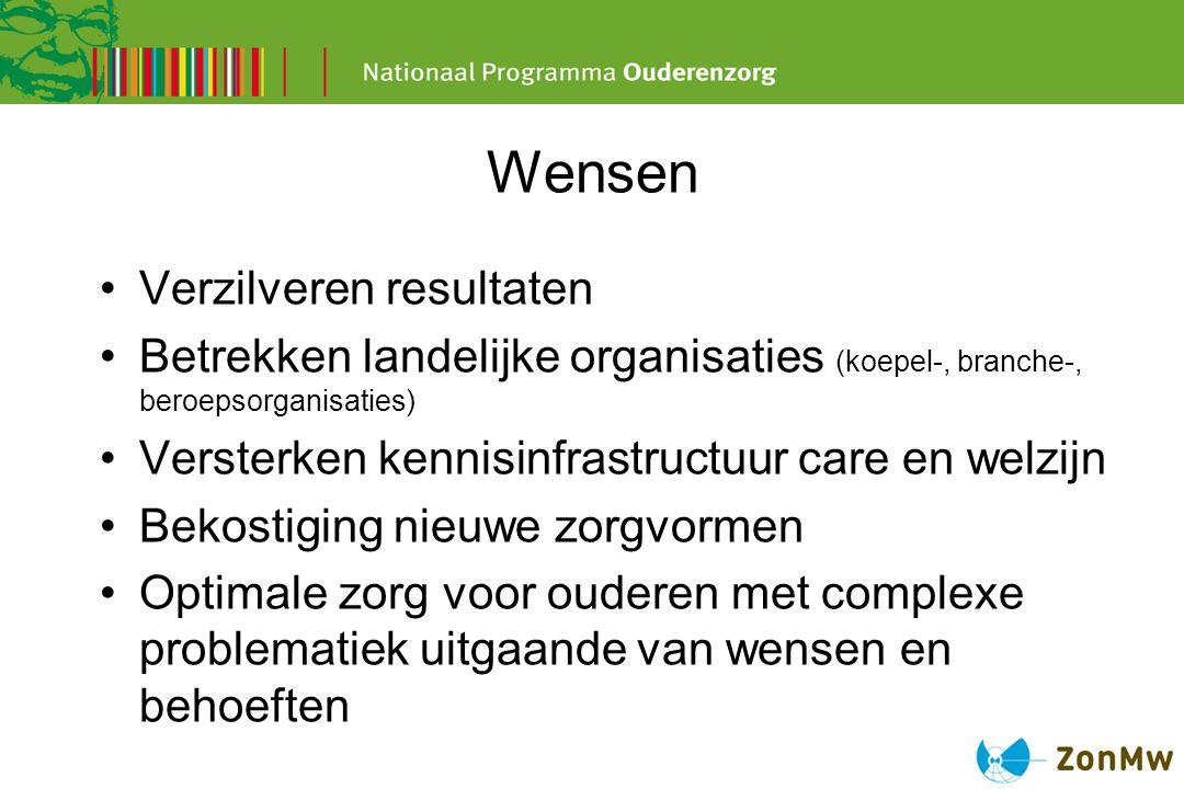 Wensen Verzilveren resultaten Betrekken landelijke organisaties (koepel-, branche-, beroepsorganisaties) Versterken kennisinfrastructuur care en welzi