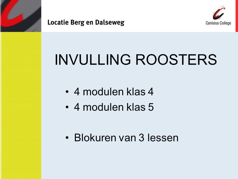 INVULLING ROOSTERS 4 modulen klas 4 4 modulen klas 5 Blokuren van 3 lessen