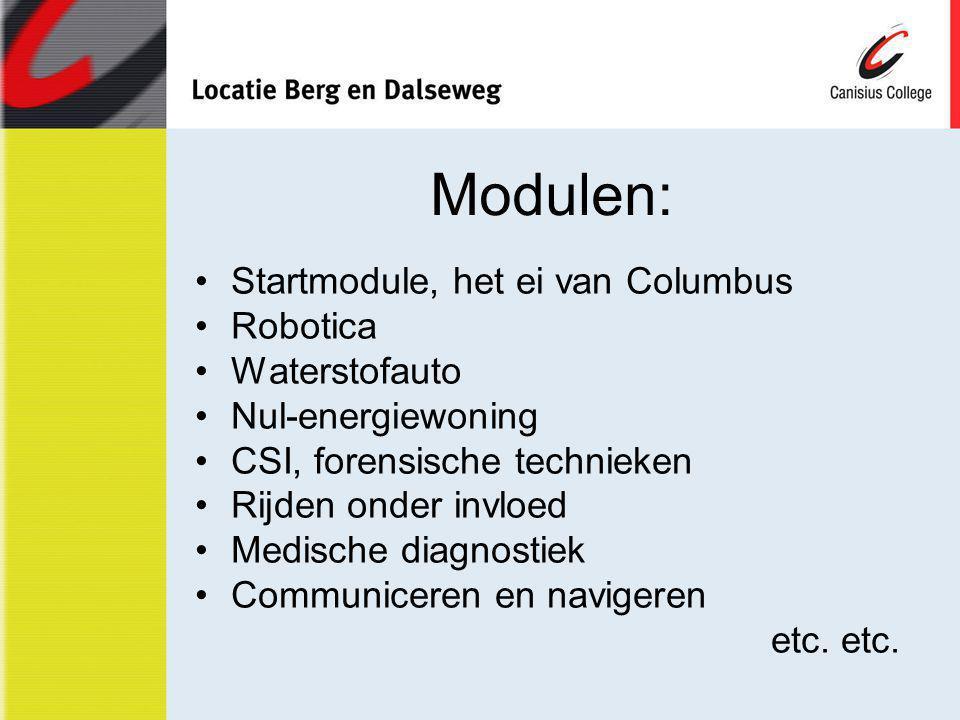 Modulen: Startmodule, het ei van Columbus Robotica Waterstofauto Nul-energiewoning CSI, forensische technieken Rijden onder invloed Medische diagnosti