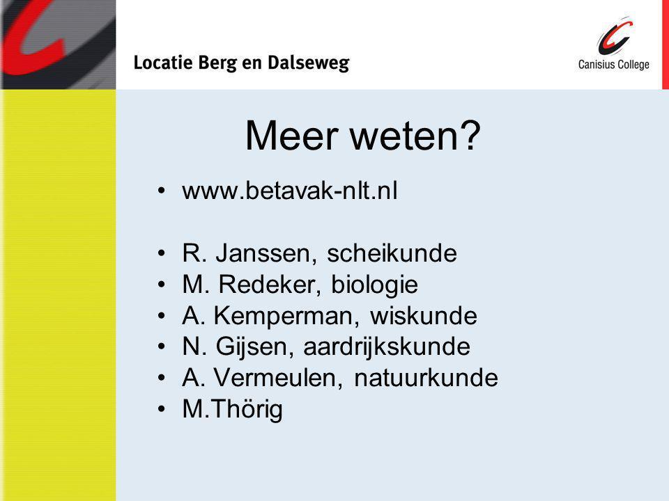 Meer weten? www.betavak-nlt.nl R. Janssen, scheikunde M. Redeker, biologie A. Kemperman, wiskunde N. Gijsen, aardrijkskunde A. Vermeulen, natuurkunde