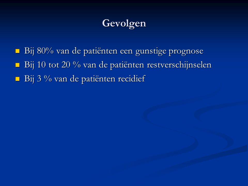 Gevolgen Bij 80% van de patiënten een gunstige prognose Bij 80% van de patiënten een gunstige prognose Bij 10 tot 20 % van de patiënten restverschijns