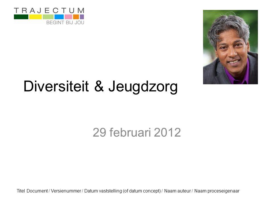 Titel Document / Versienummer / Datum vaststelling (of datum concept) / Naam auteur / Naam proceseigenaar Diversiteit & Jeugdzorg 29 februari 2012