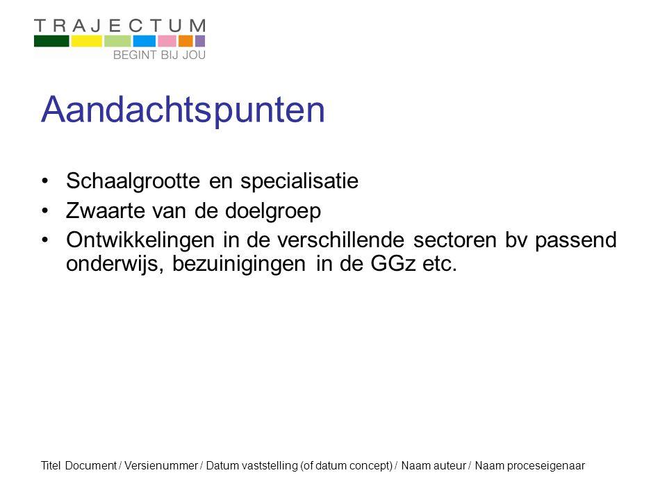 Titel Document / Versienummer / Datum vaststelling (of datum concept) / Naam auteur / Naam proceseigenaar Aandachtspunten Schaalgrootte en specialisat