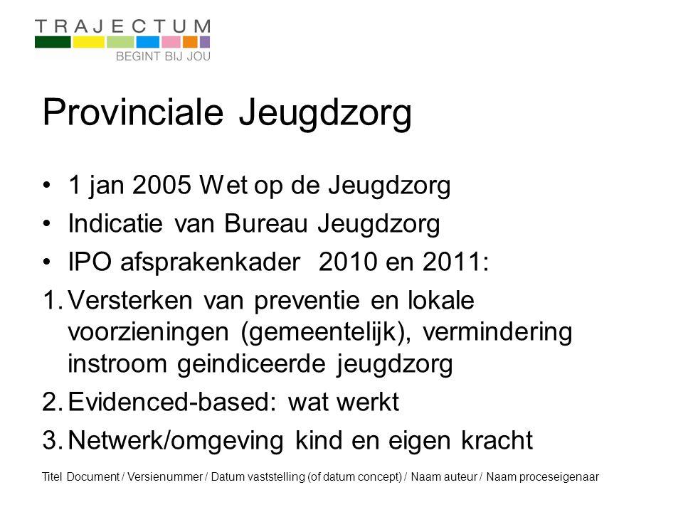 Titel Document / Versienummer / Datum vaststelling (of datum concept) / Naam auteur / Naam proceseigenaar Provinciale Jeugdzorg 1 jan 2005 Wet op de J