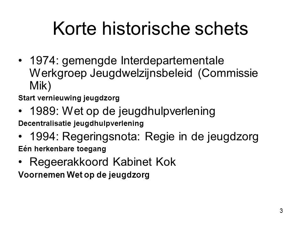 3 Korte historische schets 1974: gemengde Interdepartementale Werkgroep Jeugdwelzijnsbeleid (Commissie Mik) Start vernieuwing jeugdzorg 1989: Wet op d