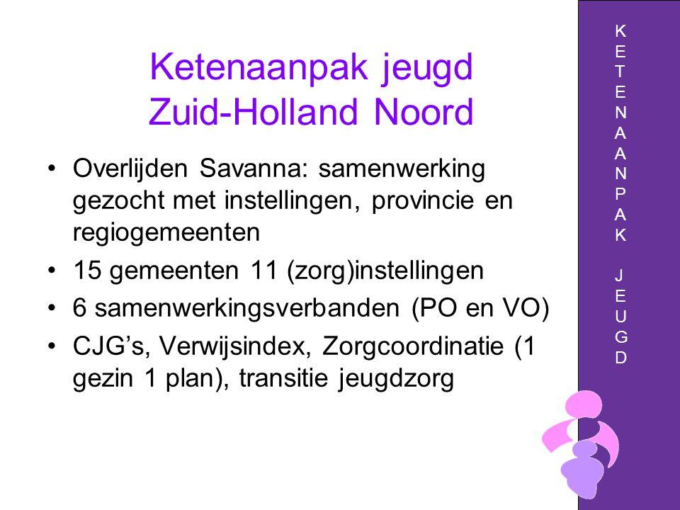 Ketenaanpak jeugd Zuid-Holland Noord Overlijden Savanna: samenwerking gezocht met instellingen, provincie en regiogemeenten 15 gemeenten 11 (zorg)instellingen 6 samenwerkingsverbanden (PO en VO) CJG's, Verwijsindex, Zorgcoordinatie (1 gezin 1 plan), transitie jeugdzorg KETENAANPAKJEUGDKETENAANPAKJEUGD