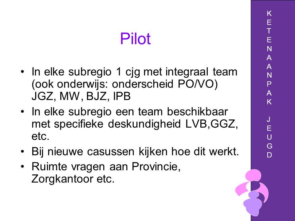 Pilot In elke subregio 1 cjg met integraal team (ook onderwijs: onderscheid PO/VO) JGZ, MW, BJZ, IPB In elke subregio een team beschikbaar met specifieke deskundigheid LVB,GGZ, etc.