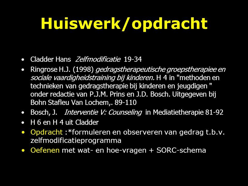 Huiswerk/opdracht Cladder Hans Zelfmodificatie 19-34 Ringrose H.J.