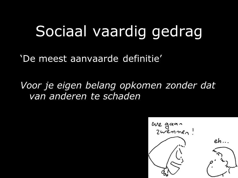 Sociaal vaardig gedrag 'De meest aanvaarde definitie' Voor je eigen belang opkomen zonder dat van anderen te schaden