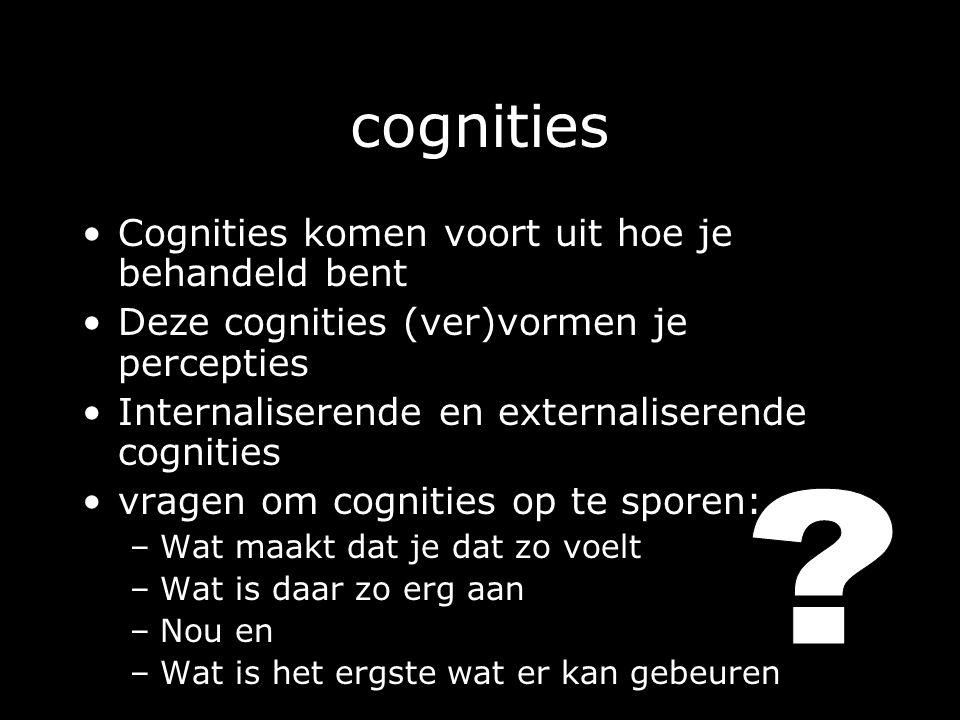 cognities Cognities komen voort uit hoe je behandeld bent Deze cognities (ver)vormen je percepties Internaliserende en externaliserende cognities vragen om cognities op te sporen: –Wat maakt dat je dat zo voelt –Wat is daar zo erg aan –Nou en –Wat is het ergste wat er kan gebeuren
