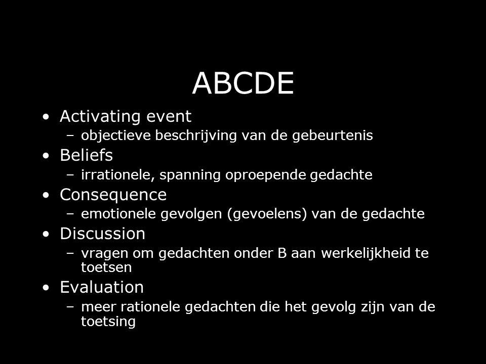 ABCDE Activating event –objectieve beschrijving van de gebeurtenis Beliefs –irrationele, spanning oproepende gedachte Consequence –emotionele gevolgen (gevoelens) van de gedachte Discussion –vragen om gedachten onder B aan werkelijkheid te toetsen Evaluation –meer rationele gedachten die het gevolg zijn van de toetsing