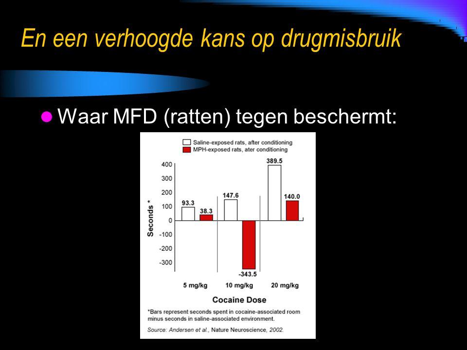 En een verhoogde kans op drugmisbruik Waar MFD (ratten) tegen beschermt: