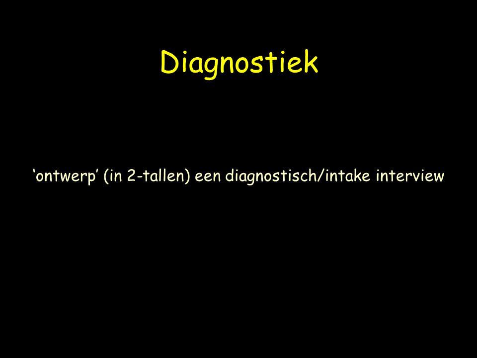 Diagnostiek 'ontwerp' (in 2-tallen) een diagnostisch/intake interview