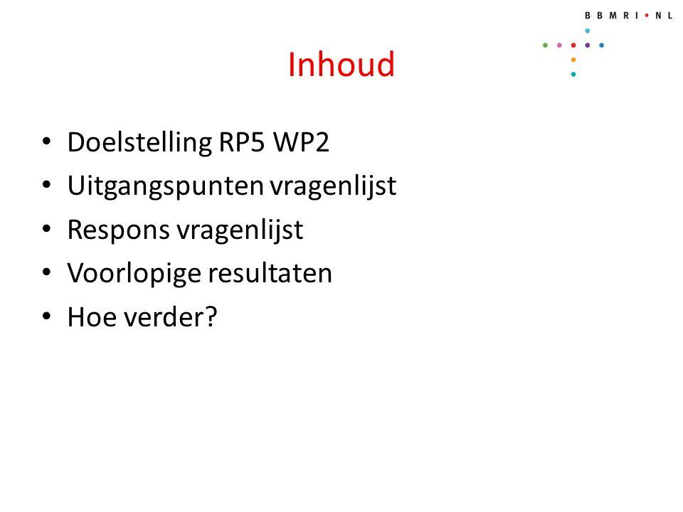 Inhoud Doelstelling RP5 WP2 Uitgangspunten vragenlijst Respons vragenlijst Voorlopige resultaten Hoe verder