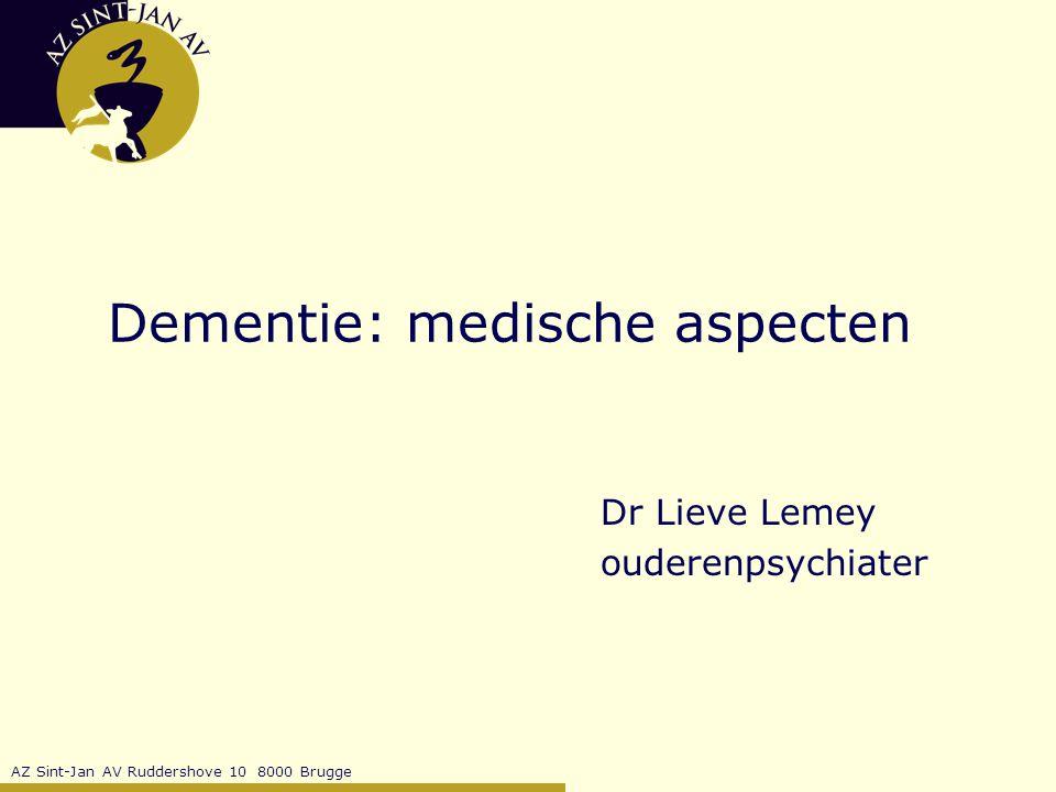 AZ Sint-Jan AV Ruddershove 10 8000 Brugge Dementie: behandeling psychiatrische symptomen 1988: ¾ van opgenomen patiënten met Alzheimer dementie neemt psychofarmaca waaronder de helft antipsychotica (Beers, 1988) gebrek aan gecontroleerd farmacologisch onderzoek (Schneider, 1990) eind jaren '90: 35 à 50% van de dementerenden in WZC nemen antipsychotica (McGrath, 1996; Thacker, 1997; Ballard, 1999) RELEVANTIE.