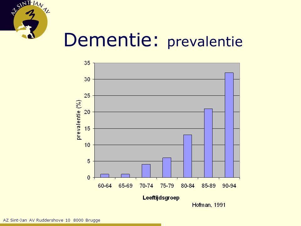 AZ Sint-Jan AV Ruddershove 10 8000 Brugge Dementie: prevalentie  65j: 5% van bevolking lijdt aan één of andere vorm van dementie  65j: 1à2 % van bevolking lijdt aan ernstige vorm van dementie risico op dementering: 1/3 vr ; 1/6 m tss 80 en 85 jaar: 15 à 20%: continue zorg nodig