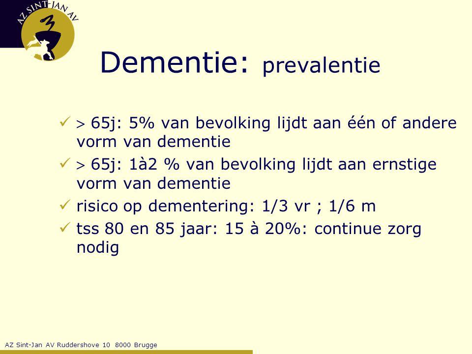 AZ Sint-Jan AV Ruddershove 10 8000 Brugge Dementie - Depressie Overlap symptomatologie: Depressie Dementie afasie apraxie agnosie sombere stemming schuldgevoel suïcidaliteit geheugenstoornissen executieve problemen interesseverlies